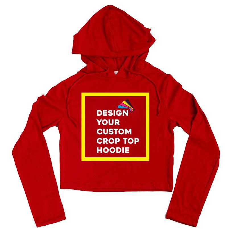 Ladies Red Crop Top Hoodie