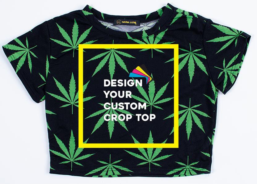 Ladies Crop Top Shirt - Black and Green - Marijuana