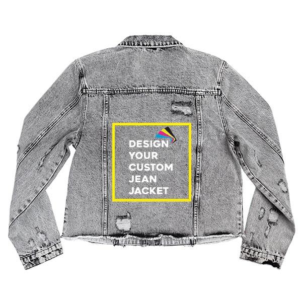 Custom Women's Distressed Black Acid Wash Crop Jacket