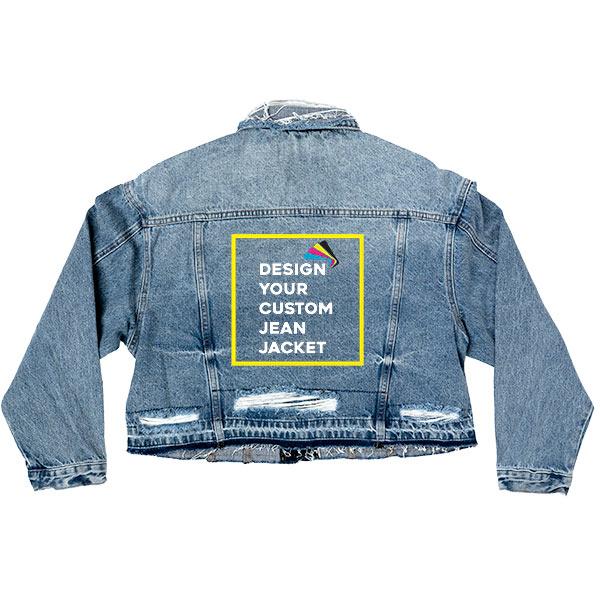 Custom Women's Distressed Let Out Hem Oversized Crop Denim Jacket