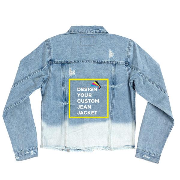 Custom Women's Denim Jean Jacket with Dip-Dye Bleach