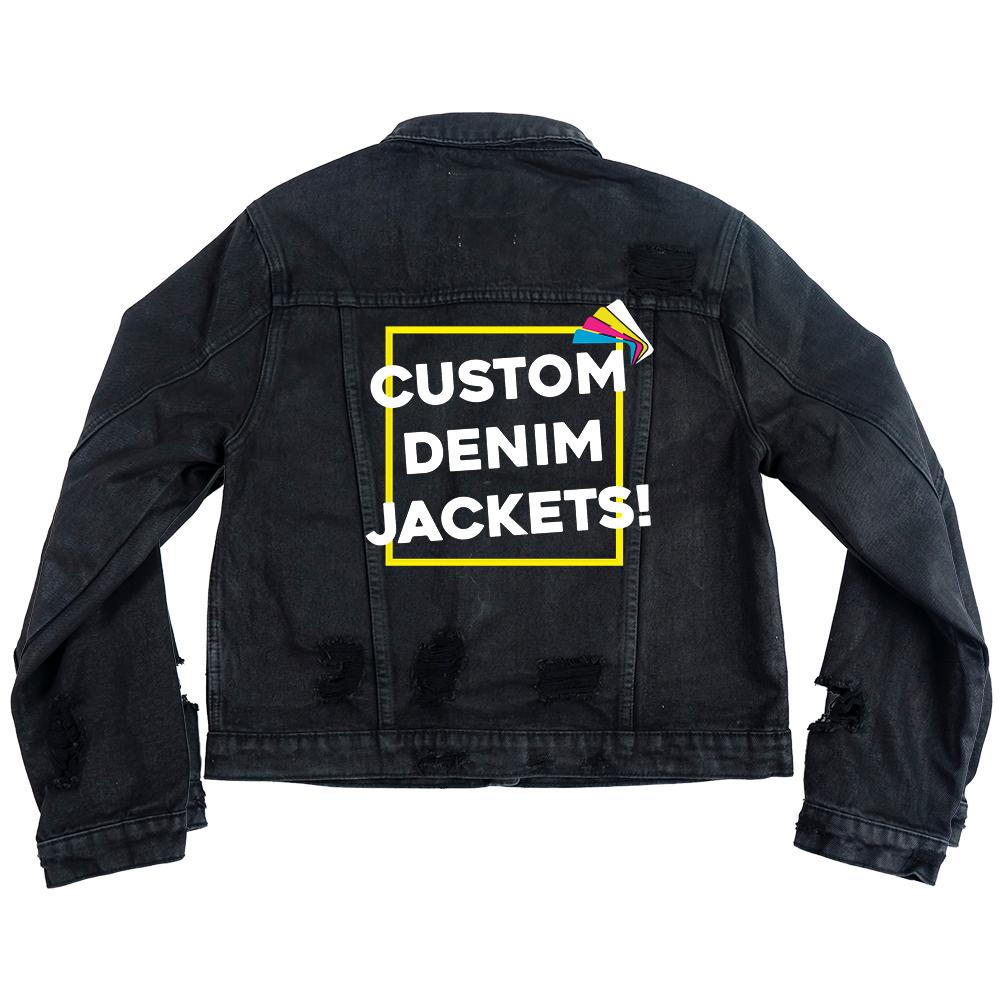 Custom Women's Distressed Black Coated Classic Jacket